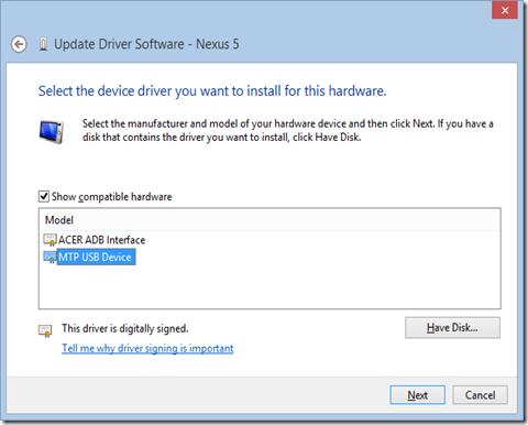 android adb driver nexus 7