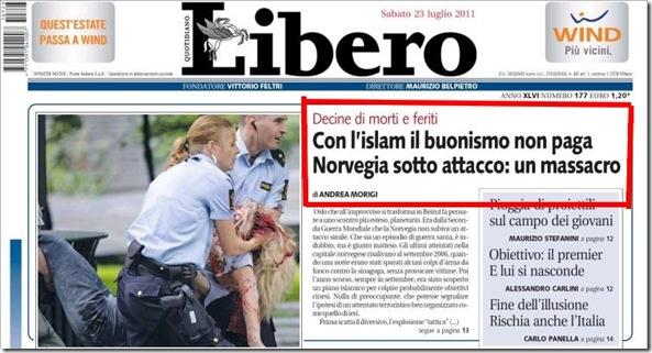 La prima pagina di Libero con lo strafalcione dell'attacco islamico in Norvegia