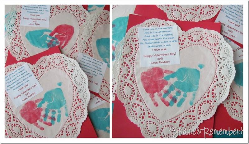 Handprint on doilies Valentine