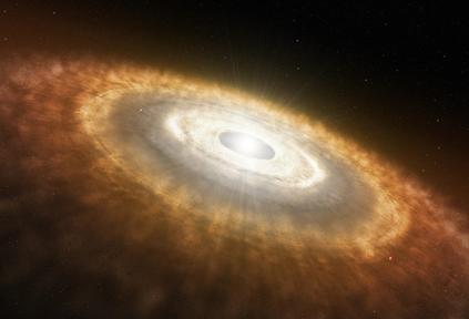 ilustração de um disco protoplanetário