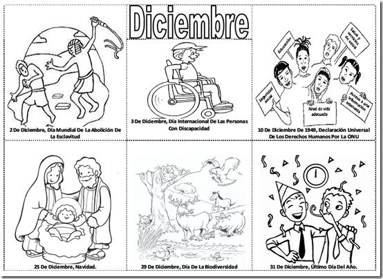 Fechas importantes de diciembre para colorear -  efemérides de diciembre para pintar