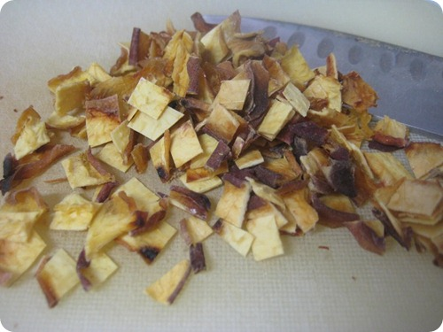 Dicing Dried Peaches into Small Pieces