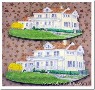 Yellow Houses - Custom Wood Ornaments