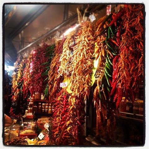 Dried peppers at la Boqueria
