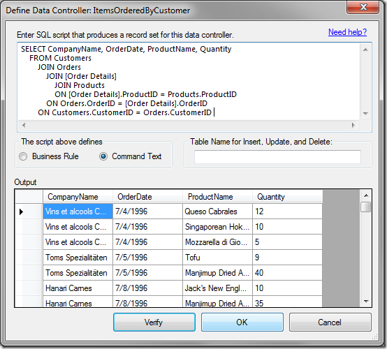 Defining a data controller from an SQL query.