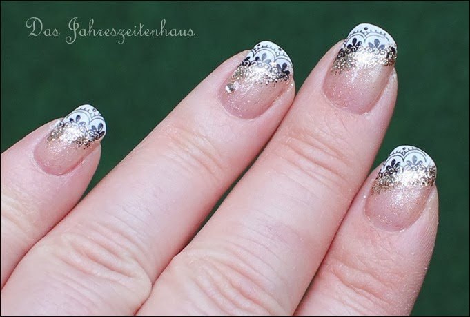 0 French Nail Art Baroque Gold Glitter 11