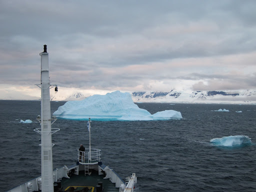 Navigating around an iceberg in the Gerlache Strait.