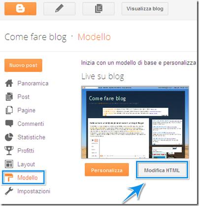 come modificare codice HTML modello template blog blogger