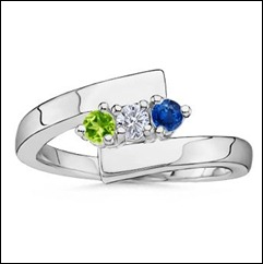 Twisted Shank Ring With Peridot, Diamond, Sapphire in 14k White Gold