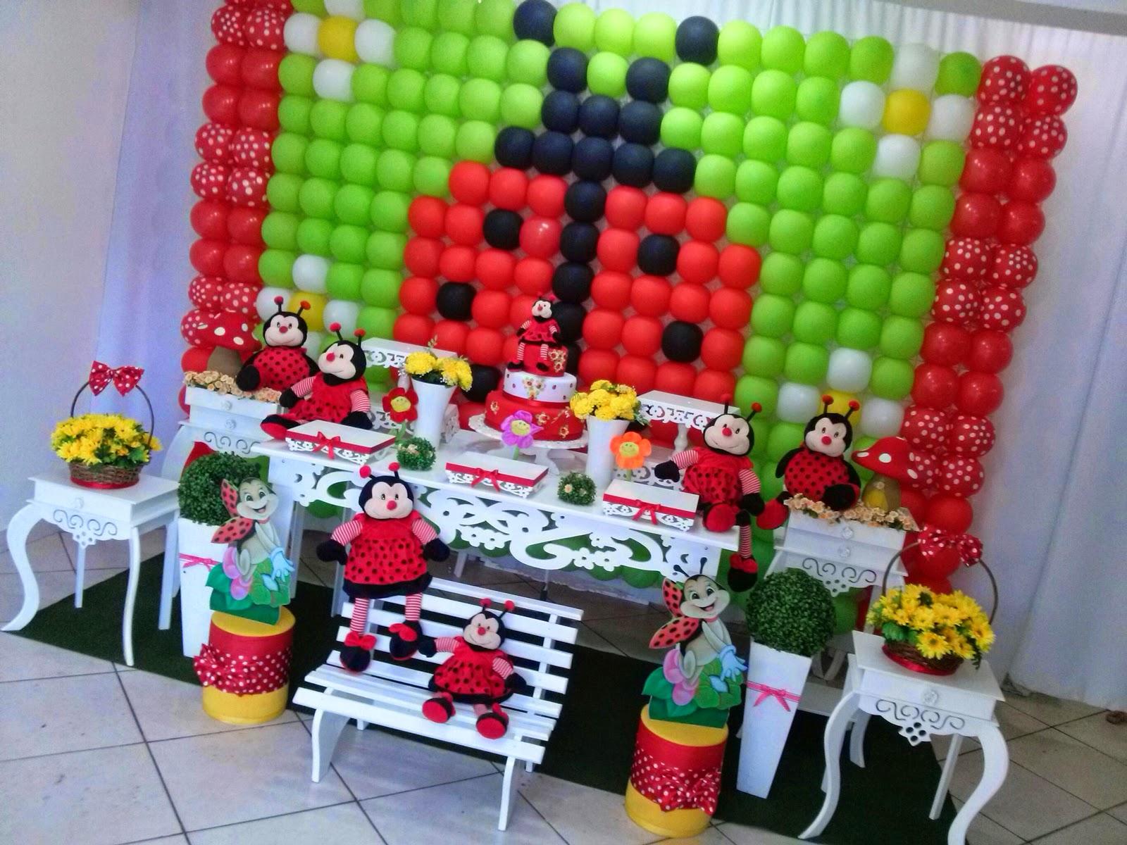 decoracao de festa infantil jardim das joaninhas: DECORAÇÕES(011)4778-2746 : Decoração Joaninha Com Painel de Bexiga