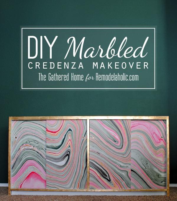 diy marbled credenza makeover title2