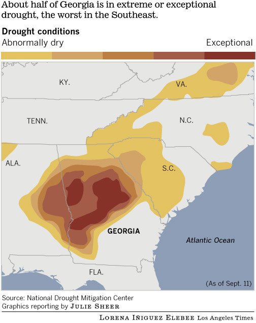 Drought in Georgia, 11 September 2012. About half of Georgia is in extreme or exceptional drought, the worst in the Southeast, but Republican Gov. Nathan Deal contends that there is no drought. Source: National Drought Mitigation Center / graphics reporting by Julie Sheer / Lorena Iñiguez Elebee / Los Angeles Times