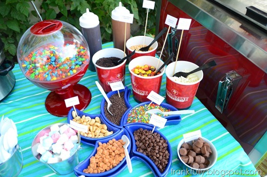 Cold Stone Creamery catering cart sundae toppings