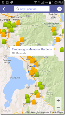Cemetery map from Ancestry.com Find A Grave app for Android