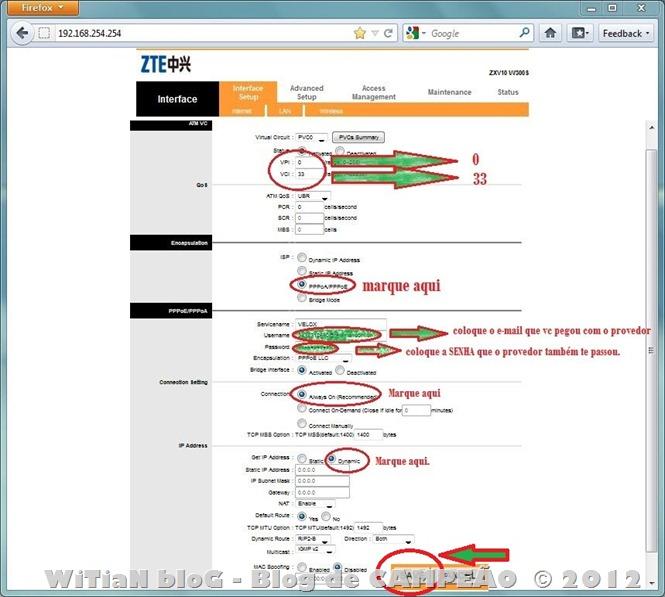 Como configurar o modem ROUTER WIRELESS Wi-Fi ZTE ZXV10 W300S para internet VELOX da Oi - rotear - conectar direto - automático - Login e senha - 003