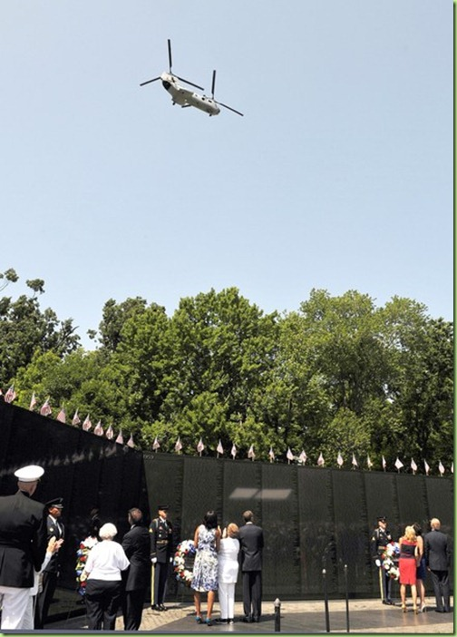 Vietnam-era Chinook helicopter fly by at bo's speech