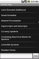 Screenshot of Unicode Map