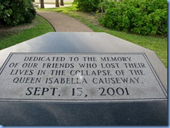 7166 Texas, South Padre Island - plaque on eight-sided memorial to those who lost their lives in the collapse of the Queen Isabella Causeway