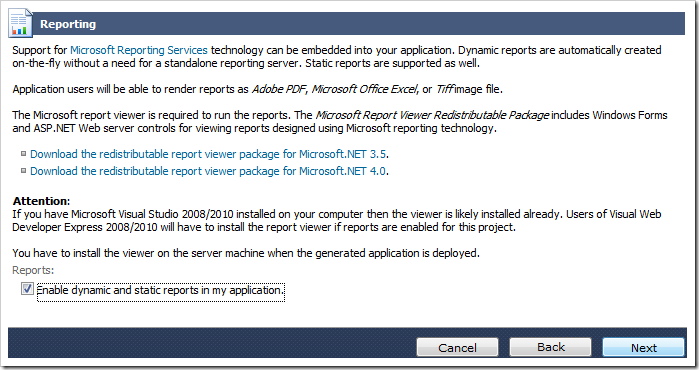 Enabling reporting for the web application.