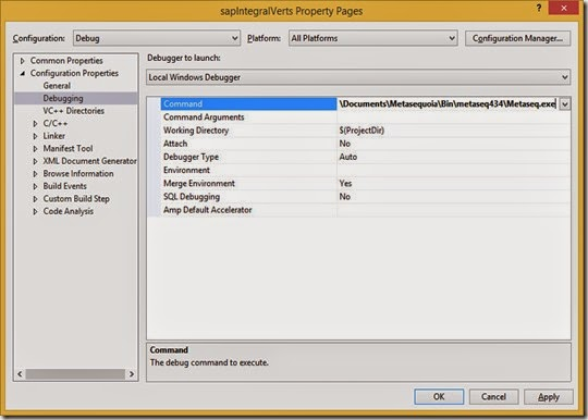 Set Metasequoia as the debugging command