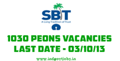 SBT Peons Recruitment 2013