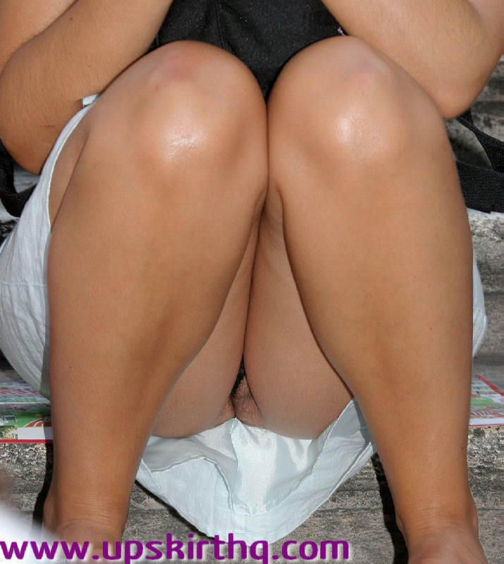 Upskirt no panties sitting down remarkable, this