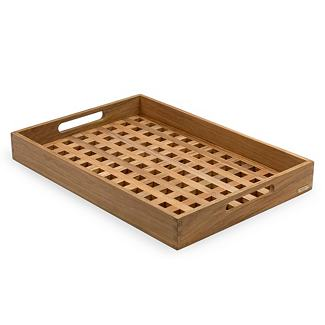 A tray is a great addition to a bar for holding cocktail napkins, lemons, or any other odds-and-ends entertaining items. It also makes it easy to bring beverages from the bar to your guests.  (dwr.com)
