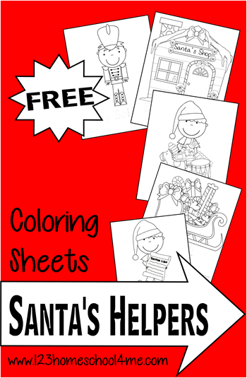 FREE Santa's Helpers Christmas Coloring Pages - These Christmas themed coloring sheets are lots of fun for toddler, preschool, prek, kindergarten, first grade, 2nd grade in December