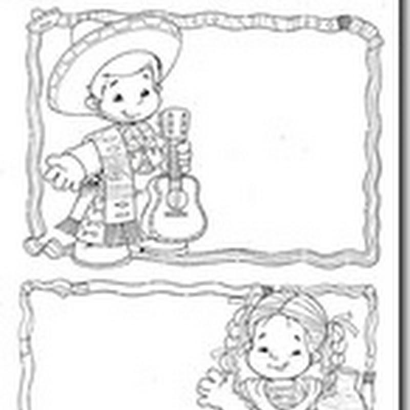 dibujos para colorear invitaciones fiestas mexicanas