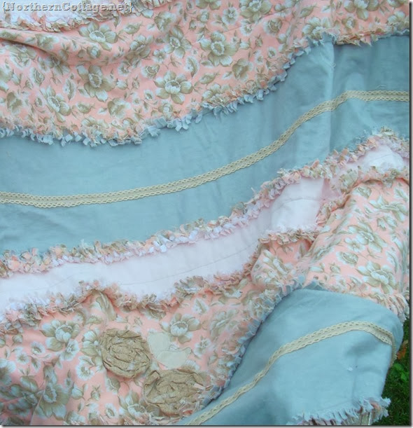 {Northern Cottage} grey and pink rag quilt with lace trim