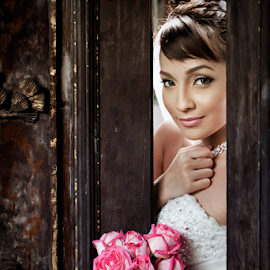 the day by Ivan Lee - Wedding Bride ( canon, girl, door, bride, flower )