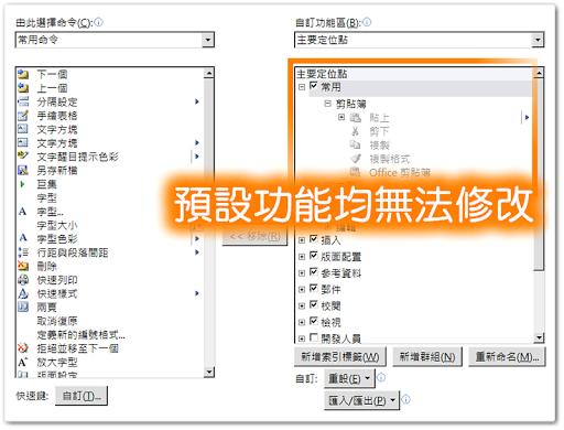 Office 2010 的預設功能表無法做任何修改