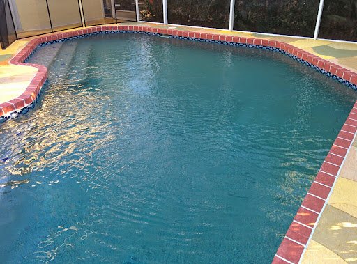 The new pool finish with chemicals and pumps running
