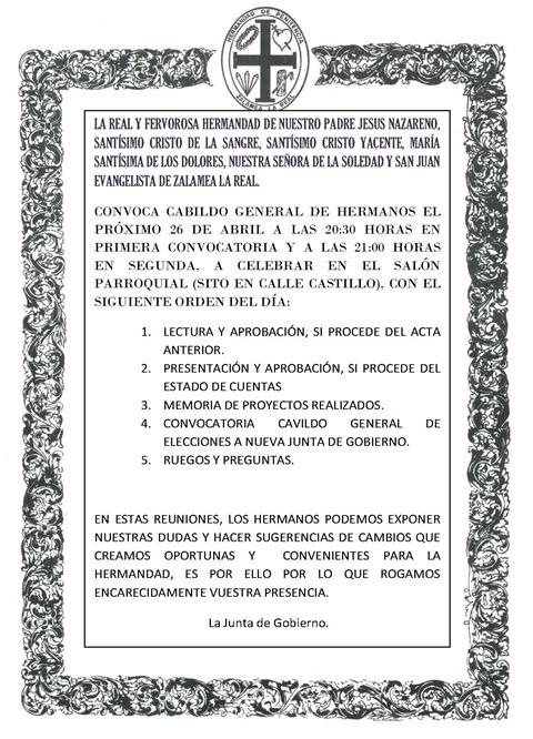 convocatoria cabildo general de hermanos 2013