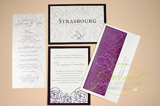Purple and charcoal wedding invitations slate grey and purple wedding