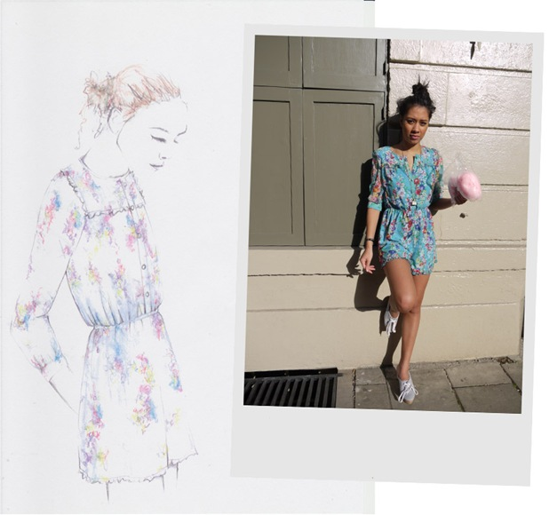 """The Snookums playsuit is our favourite piece from this collection because it sums up exactly the feeling we were going for back when the collection was still just ideas on a moodboard.  It's super cute and reminiscent of childhood, summer days spent playing in sandpits and splashing in paddling pools, sticker books and colouring-in, and being mischievous and getting away with it!  It reminds us that even though we're grown ups now we don't have to act it ALL the time""."