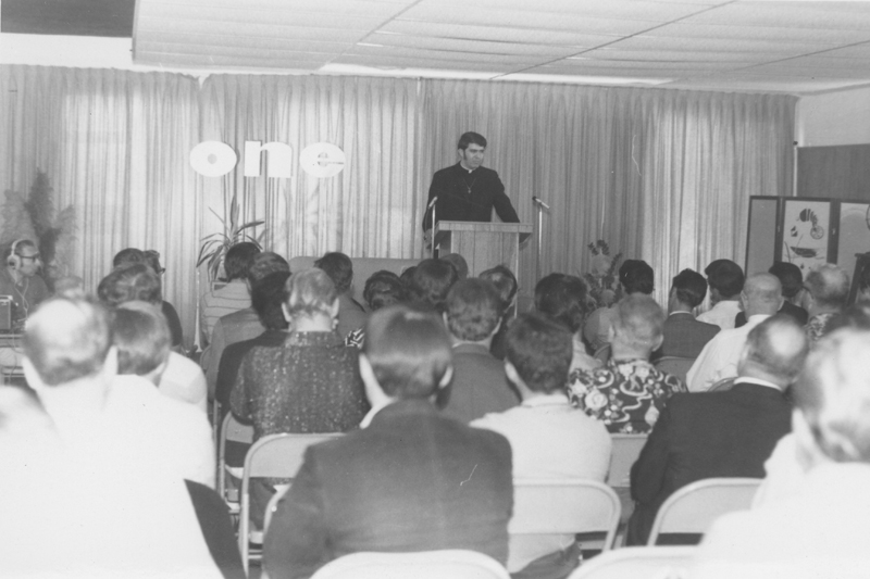 Reverend Troy Perry, founder of the Metropolitan Community Church (MCC), speaks at ONE Incorporated. October 5, 1969.