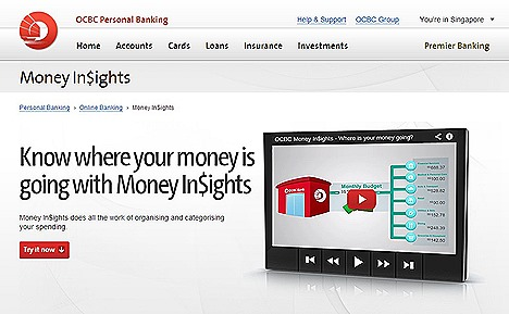 OCBC Money InSights financial online banking app tool manages your finances, automatically,  tracking,  organising and categorising so you know where your money is spent on to find you find saving opportunities next dream holiday