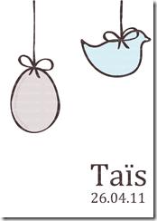 Faire-part de naissance mobile de Pâques oeuf et oiseau version garçon