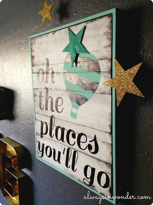 oh the places you'll go diy wood framed sign