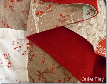 Red backing on Winter's Lane quilt