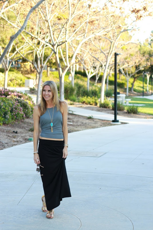 maxi skirt and pop of color
