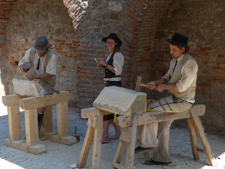 Craftsmen work in the historical cities of Transylvania