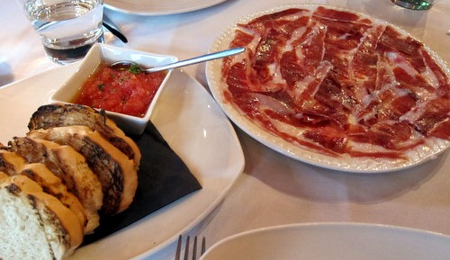 "Iberico Pata Negra Ham ""5 JOTAS SANCHEZ ROMERO CARVAJAL"" toasted bread & tomato"