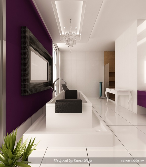 Purple-and-White-Bathroom-glamour-chandelier