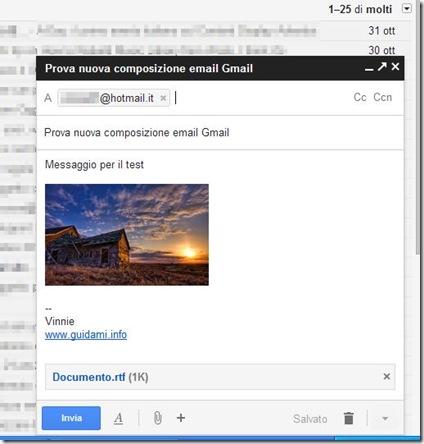 Gmail nuova interfaccia di composizione delle email