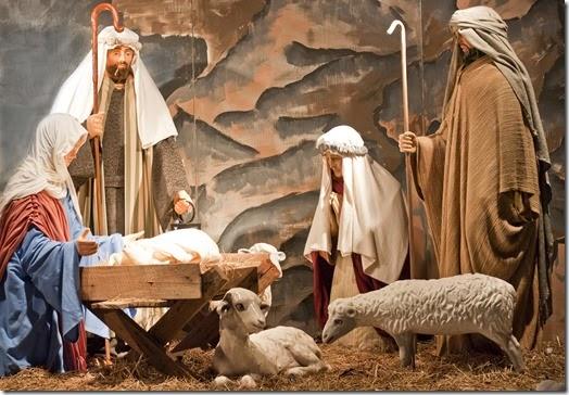 Life-size nativity scene at the Mormon Temple Light Show on Christmas Eve, Kensington, Maryland
