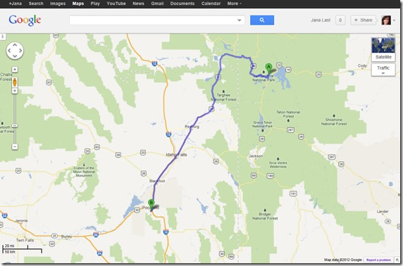 Map to Pocatello, Idaho from Yellowstone National Park