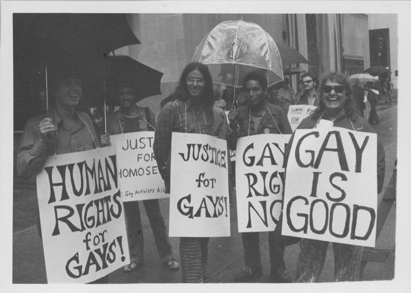A Gay Activists Alliance (GAA) protest across the street from St. Patrick's Cathedral regarding a separation of church and state. June 23, 1974.