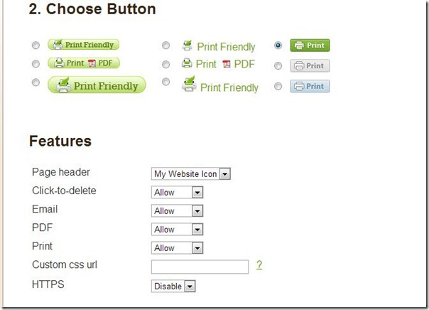 Choose your Features, Printfriendly tutorial step from Setting for Four